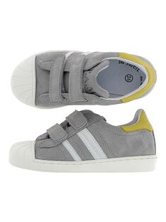 Boys' leather city trainers CGTENGREY / 18SK36W1D3G940