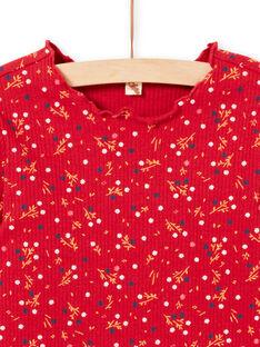 T-shirt a costine maniche lunghe rossa motivo a fiori bambina MAJOUTEE5 / 21W90126TML511