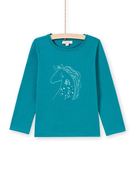 T-shirt turchese scuro bambina MAJOYTEE6 / 21W9012ATMLC217