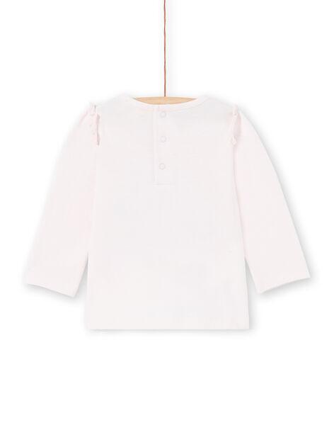 T-shirt a maniche lunghe rosa con scritta Joli Colibri neonata MIKATEE / 21WG09I1TML632