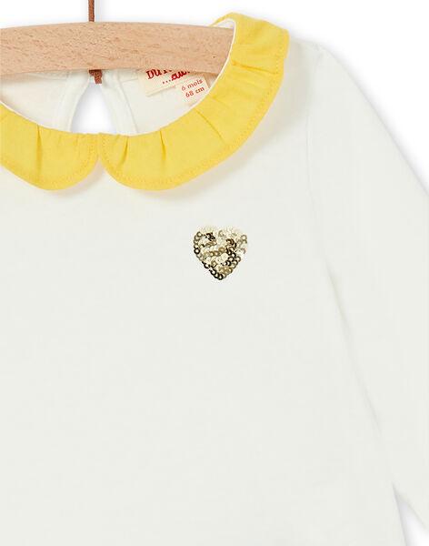 T-shirt ecrù e gialla in cotone neonata LIJOBRA1 / 21SG0932BRA001