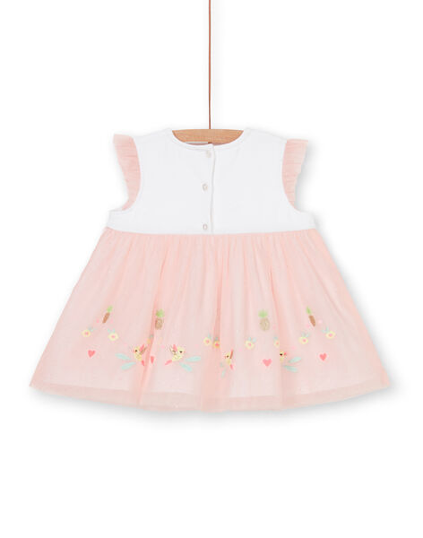Abito bianco e rosa neonata LIBALROB4 / 21SG09O3ROB000
