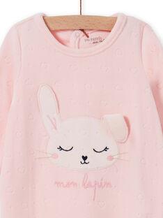 Tutina rosa in velluto con motivo coniglietto neonata MEFIGRELAP / 21WH1386GRED310