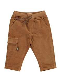 Baby boys' light brown velour trousers DUJOPAN3 / 18WG1034PANI802