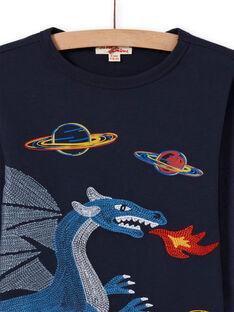 T-shirt blu notte con motivo drago e spazio bambino MOPLATEE3 / 21W902O4TML705