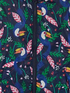 Giacca double face con cappuccio blu e stampa fantasia LAFOUDOUNE / 21S901R1D3E070
