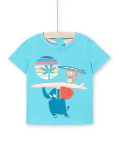 T-shirt maniche corte turchese neonato LUBONTI1 / 21SG10W3TMC202