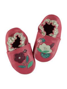 Babbucce pelle morbida rosa patch fiori neonata GNFLOWER / 19WK37Z3D3S304