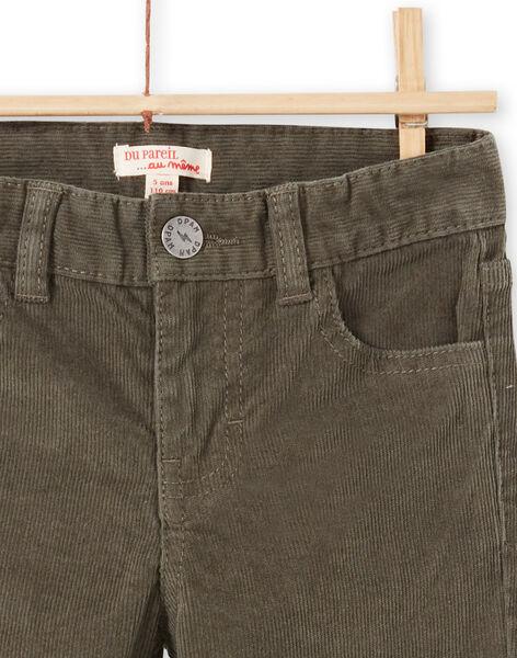 Pantaloni tinta unita kaki a costine bambino MOJOPAVEL2 / 21W90214PANG631