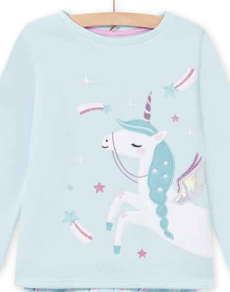 Pigiama blu con fodera motivo unicorno bambina MEFAPYJFUR / 21WH1193PYJ201