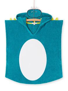 Mantellina da bagno con cappuccio turchese e verde bambino LYOMERCAPDRA / 21SI02D1CDBC242