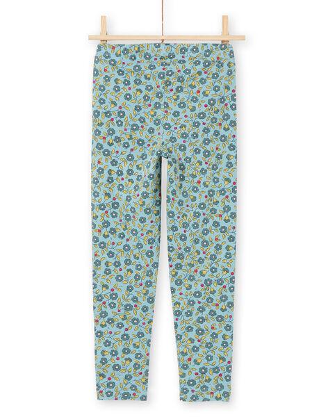 Leggings blu e kaki stampa a fiori bambina MYAKALEG1 / 21WI01I1CAL612