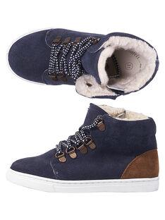 Sneakers crosta di pelle navy bambino GGBASCHAUD / 19WK36X2D3F070