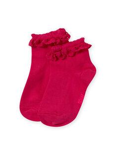Calze rosa con volant in pizzo bambina MYAESCHOD4 / 21WI01E6SOQF507