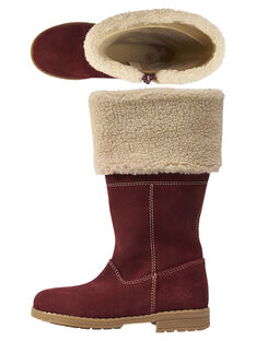 Stivali caldi crosta di pelle bordeaux bambina GFBOTTERED / 19WK35Y1D10503