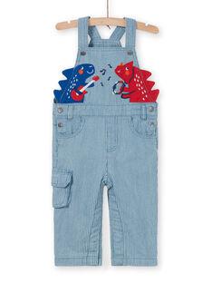Salopette blu e rossa a righe in jeans LUCANSAL / 21SG10M1SALP272
