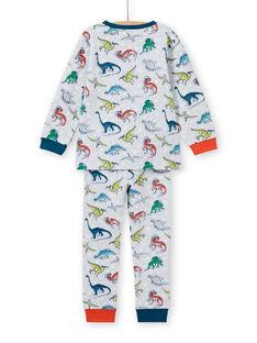 Set pigiama grigio melange fosforescente con stampa dinosauro bambino MEGOPYJAOP / 21WH1282PYJJ922