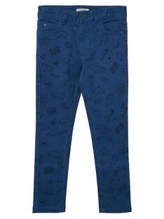 Pantaloni slim bambino blu con stampa JOGRAPAN2 / 20S902E1PAN622