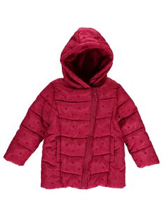 Girls' pink hooded padded jacket DALONDOU1 / 18W901E1D3ED304