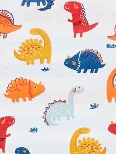 T-shirt double face bianca e rossa con stampa dinosauri in cotone neonato LUCANTEE2 / 21SG10M2TML000