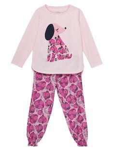 Pigiama in jersey rosa chiaro bambina e pantaloni in tubique JEFAPYJCHIEN / 20SH1121PYJ301