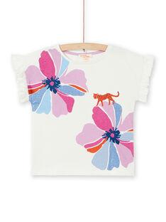 T-shirt ecrù e rosa con stampa a fiori e leopardo in cotone LABLETI / 21S901J1TMC001