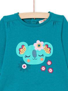 T-shirt a maniche lunghe petrolio con motivi koala e fiori neonata MITUTEE2 / 21WG09K2TMLC217