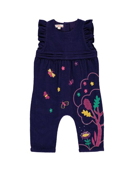 Baby girls' velour dungarees DIVIOCOMB / 18WG09H1SAL711