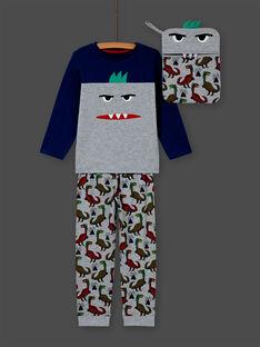Set pigiama t-shirt et pantaloni grigio melange e blu bambino MEGOPYJMAN1 / 21WH1272PYGJ922