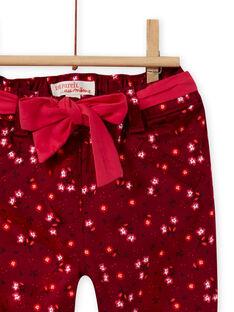 Pantaloni rosso bordeaux stampa a fiori in raso neonata MIFUNPAN1 / 21WG09M2PAN504