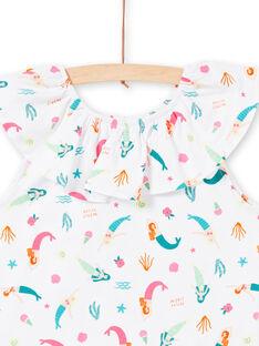 T-shirt con volant sul collo e stampa sirene e fantasia LABONTI1 / 21S901W4TMC000
