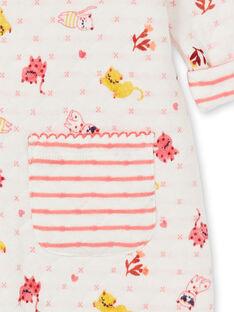 Tutina beige neonata matelassé con stampa gatto LEFIGRENAU / 21SH1313GRE001
