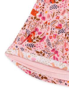 Gonna rosa antico con stampa a fiori fantasia in velluto bambina MASAUJUP2 / 21W901P1JUP303