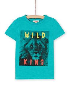 T-shirt turchese in cotone bambino LOJOTI3 / 21S90231TMCC215
