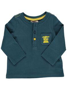 Baby boys' peacock blue long-sleeved T-shirt DUJOTUN2 / 18WG1036TML714