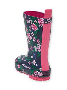 Stivali da pioggia navy e rosa bambina KFBPFLEUR / 20XK3562D0C010