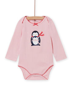 Body maniche lunghe rosa melange motivi pinguini neonata MEFIBODNEI / 21WH13C2BDLD314