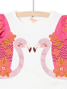 T-shirt a maniche corte, stampa fenicottero rosa con glitter LATERTI2 / 21S901V2TMC001