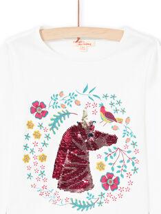 T-shirt a maniche lunghe, motivo unicorno in paillettes double face bambina MATUTEE2 / 21W901K4TML001
