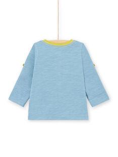 T-shirt blu a maniche lunghe rimboccabili neonato MUJOTUN1 / 21WG1021TML020