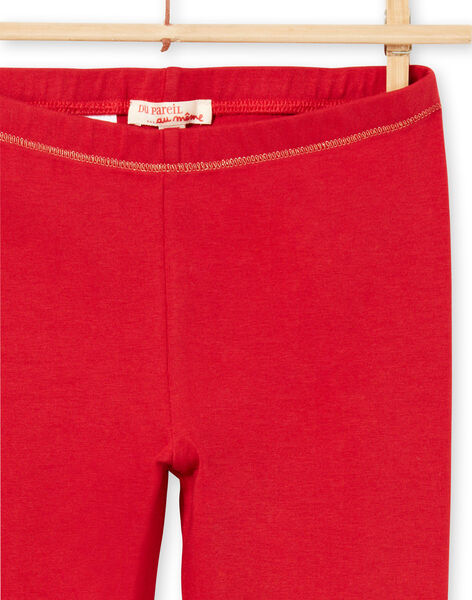 Leggings rossi dettagli dorati bambina MYAJOLEG1 / 21WI0113CAL511