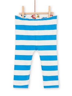 Leggings double face bianco e blu stampa automobile neonato LUHAPAN2 / 21SG10X2PAN001